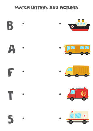 Match transportation means with alphabet letters. Educational game.