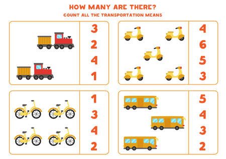 Math game. Count all transportation means. Transportation themed games.