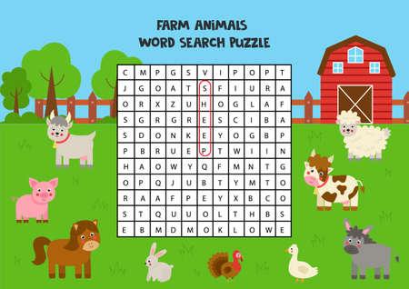 Farm animals search puzzle for preschool kids.