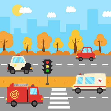 City landscape with cartoon transportation on the road.
