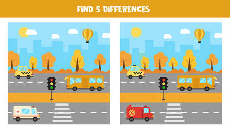 Find five differences between pictures. Transportation means.
