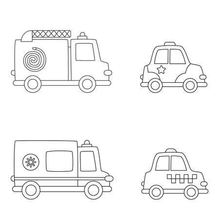Color transportation means. Coloring page for kids. Ilustración de vector