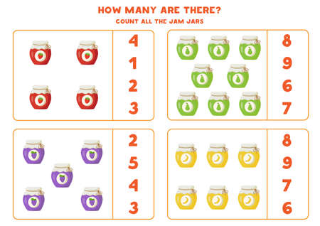 Count all colorful jam jars and circle the correct answers. Math game for kids.