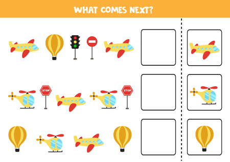 What comes next game with air transportation means. Educational logical game for kids.