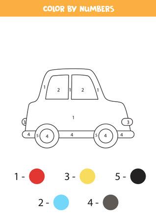 Color cartoon car by numbers. Worksheet for kids. Ilustración de vector
