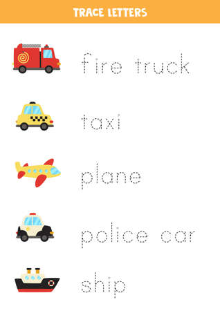 Tracing letters with cartoon transportation means.