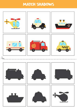 Shadow matching cards for preschool kids. Cartoon transportation means.
