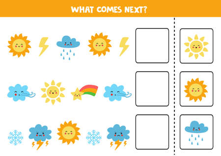 What comes next game with cute weather elements. Educational logical game for kids.