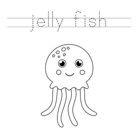 Trace the word. Cute cartoon jelly fish. Handwriting practice for preschool kids.