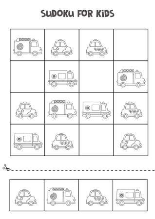 Sudoku for preschool kids. Logical game with cartoon transport.