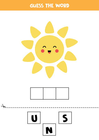 Spell the word sun. Vector illustration of cute kawaii sun. Spelling game for kids.