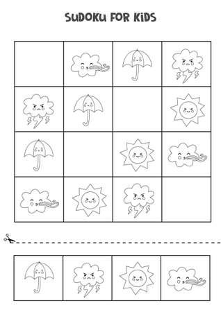 Black and white sudoku for preschool kids. Logical game with weather elements.