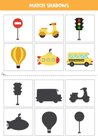 Shadow matching cards for preschool kids. Cute transportation means.