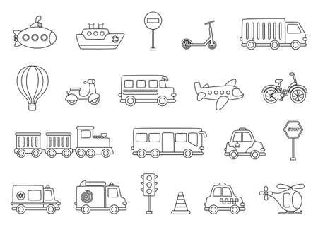 Set of black and white transportation means. Coloring page for children. Vektorgrafik