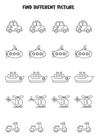 Find different black and white transportation in each row. Logical game for preschool kids.