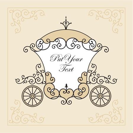 wedding invitation design with carriage Illustration