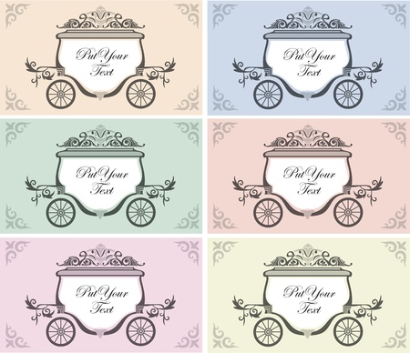 six color variation of wedding invitation design with carriage