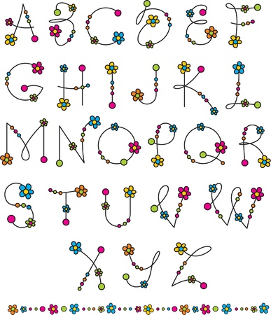 colorful beads: latin alphabet with flowers
