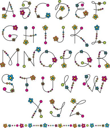 latin alphabet with flowers