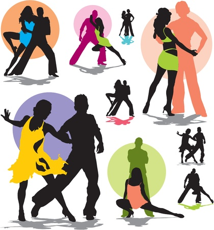 set silhouettes dancing stars Vector