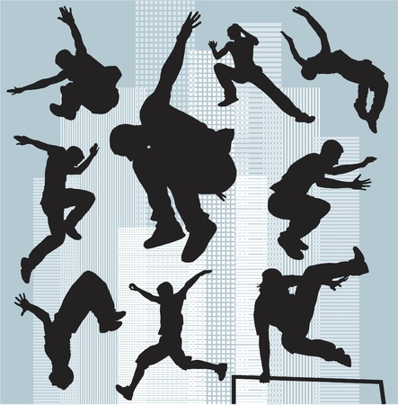 set silhouettes parkour