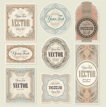 etching pattern: set vintage labels Illustration