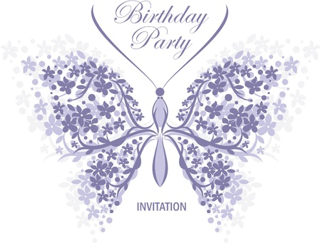 birthday or wedding invitation design with butterfly and flower  Vector