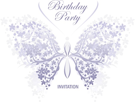 birthday or wedding invitation design with butterfly and flower  Stock Vector - 9856324