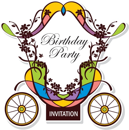 birthday or wedding invitation design with fairytale carriage