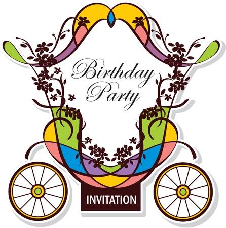 carriage: compleanno o matrimonio design invito con trasporto fairytale Vettoriali