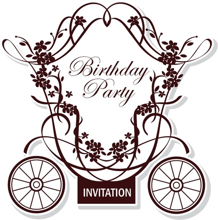 carriage: birthday or wedding invitation design with fairytale carriage