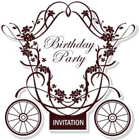 birthday or wedding invitation design with fairytale carriage