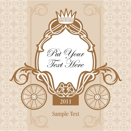 invitation design with fairytale carriage