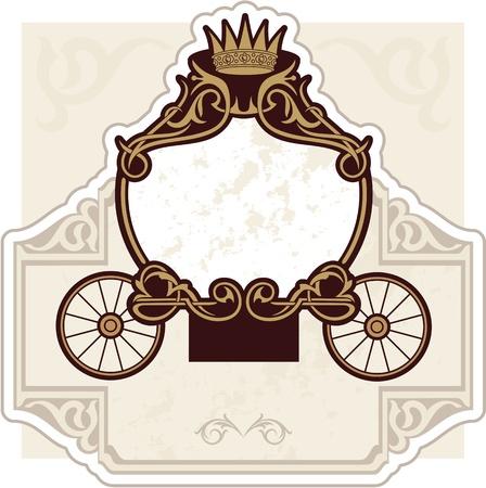 wedding invitation design with carriage Illustration