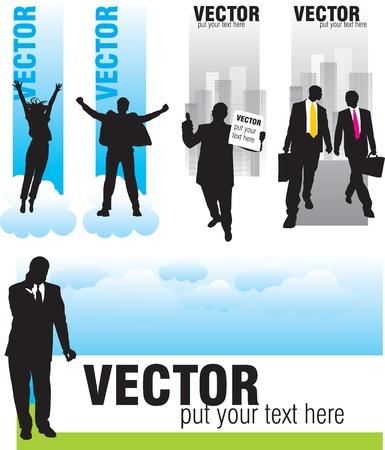 thumbs up business: establecer pancartas con siluetas de empresarios Vectores