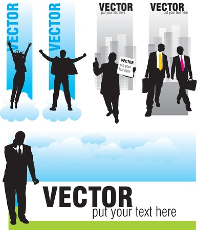 business woman phone: set banners with silhouettes of businessmen