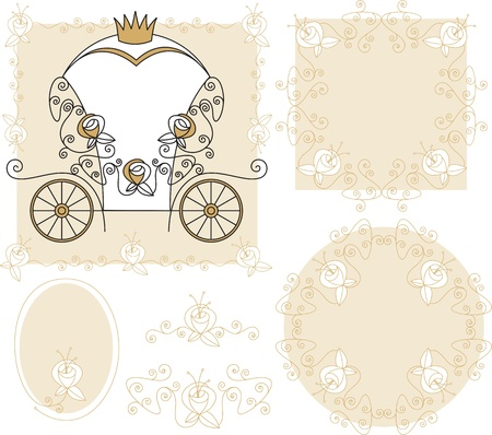 set frames, ornaments with carriage and roses for wedding events Vector