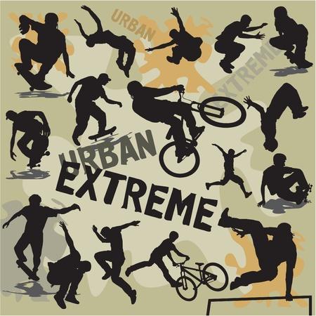 establecer vector siluetas urbanas deportes extremos Ilustración de vector