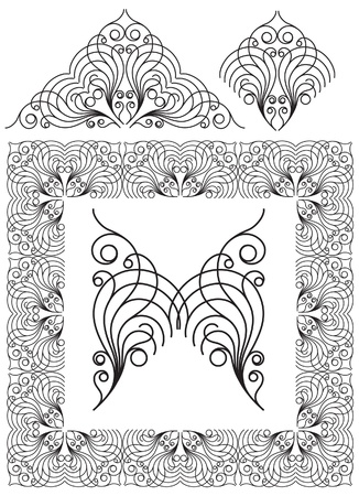antique frame and ornaments with butterfly Vector