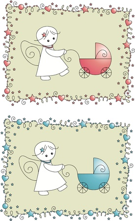 baby arrival card with angels Vector