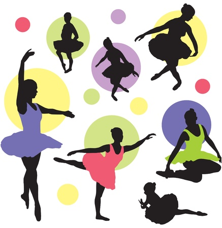 set ballet silhouettes  Illustration