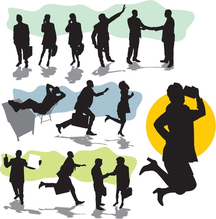 set  business people silhouettes  Vector