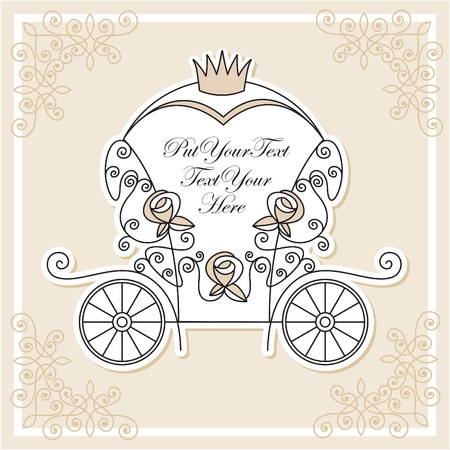 wedding invitation design with fairytale carriage