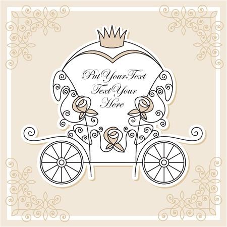 wedding invitation design with fairytale carriage
