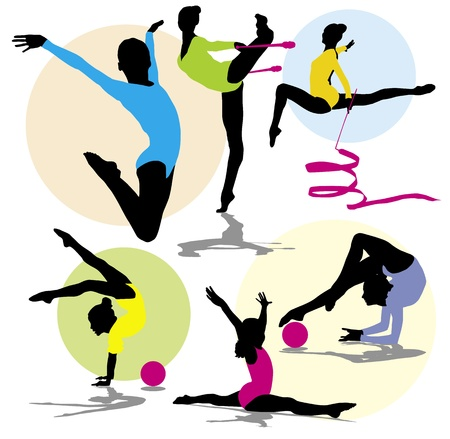 woman jump: set silhouettes gymnastics
