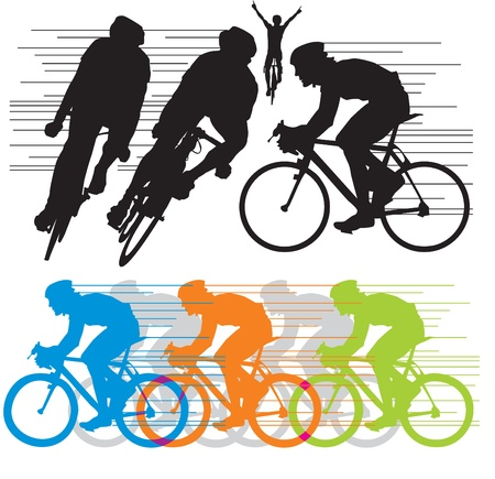 cyclist silhouette: Stock Illustration: