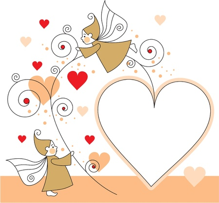 dwarves: greeting card with elves and hearts
