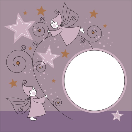 greeting card with elves, stars and ball  Vector