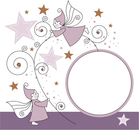 greeting card with elves, stars and ball  Illustration