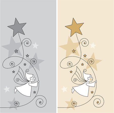 greeting cards with elves and stars  Vector